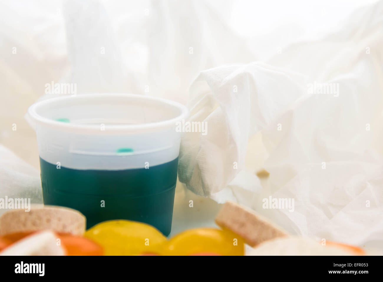 cold and flu season medicines for cough, sneeze, and sore throat - Stock Image