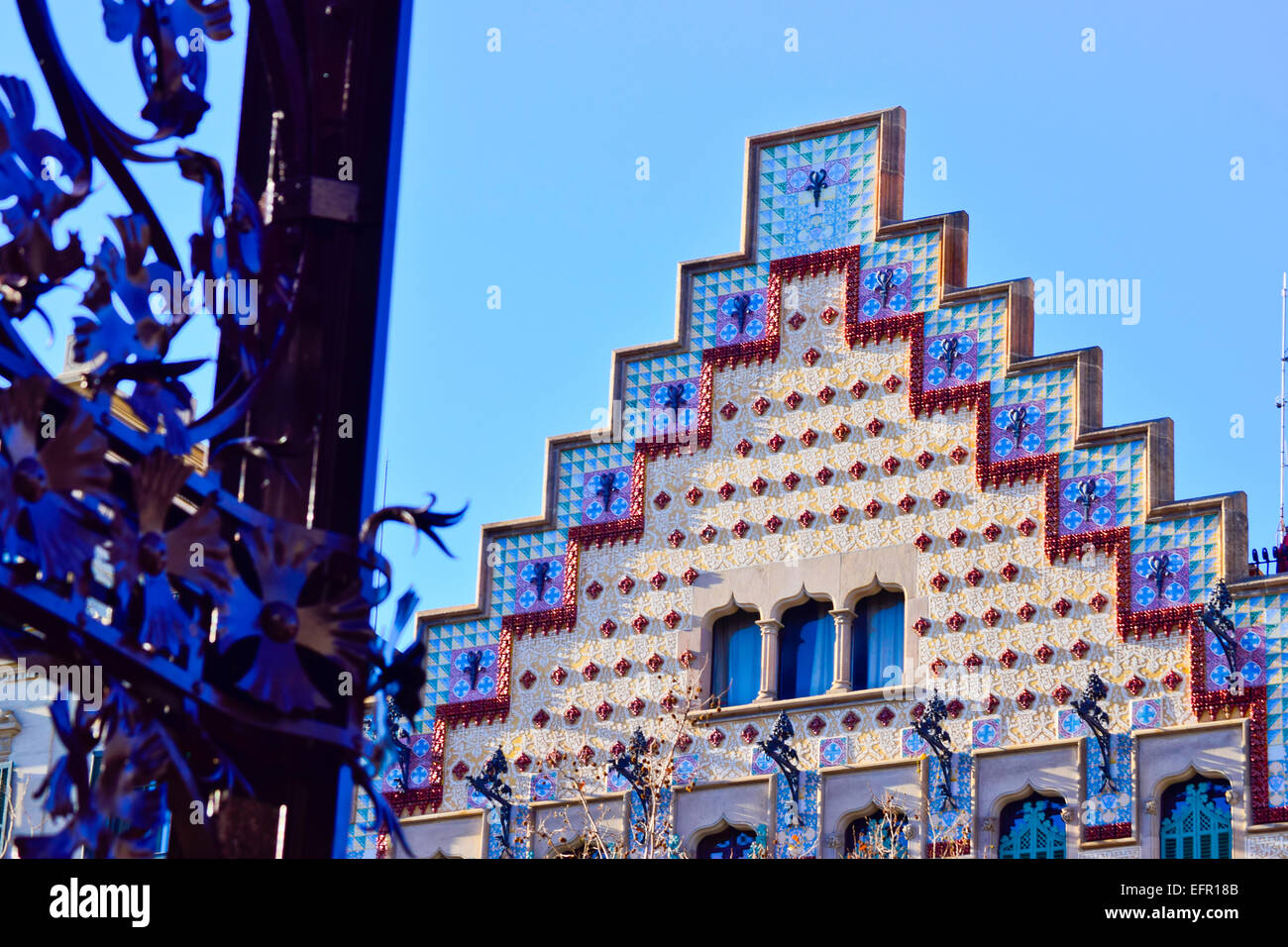 Casa Amatller by Josep Puig i Cadafalch architect. Passeig de Gracia, Barcelona, Spain. - Stock Image