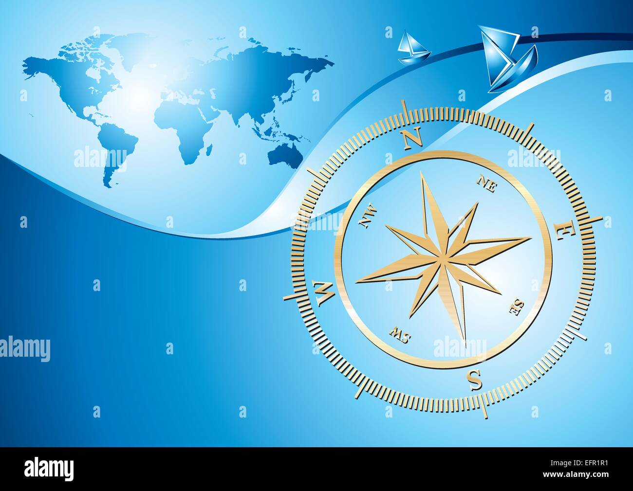Gold compass with world map background vector illustration stock gold compass with world map background vector illustration gumiabroncs Choice Image