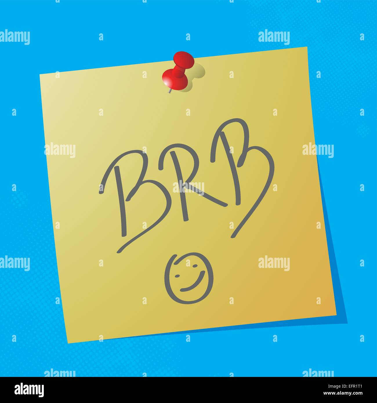brb handwritten acronym message on sticky paper, eps10 vector illustration - Stock Vector