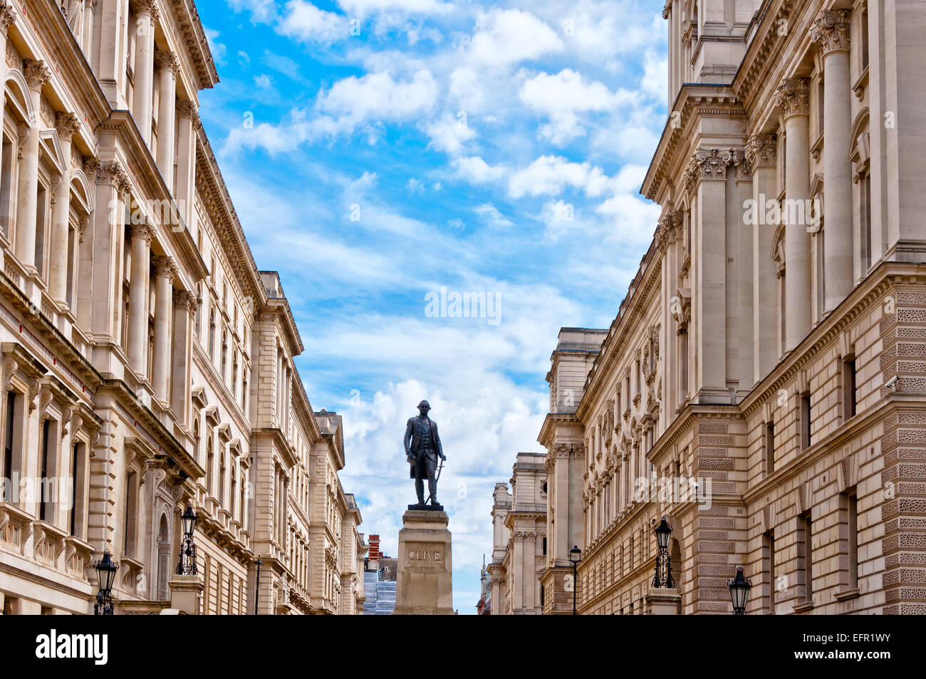 Lord Clive monument in King Charles Street, outside the Foreign Office in Westminster, London, UK - Stock Image