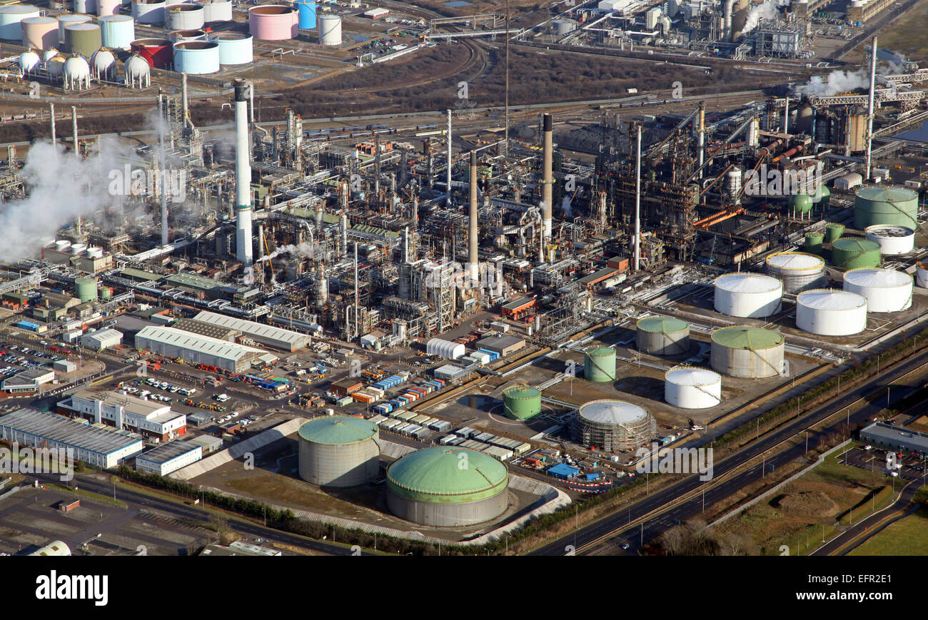 aerial view of a petro chemical works on North Lincolnshire, UK - Stock Image