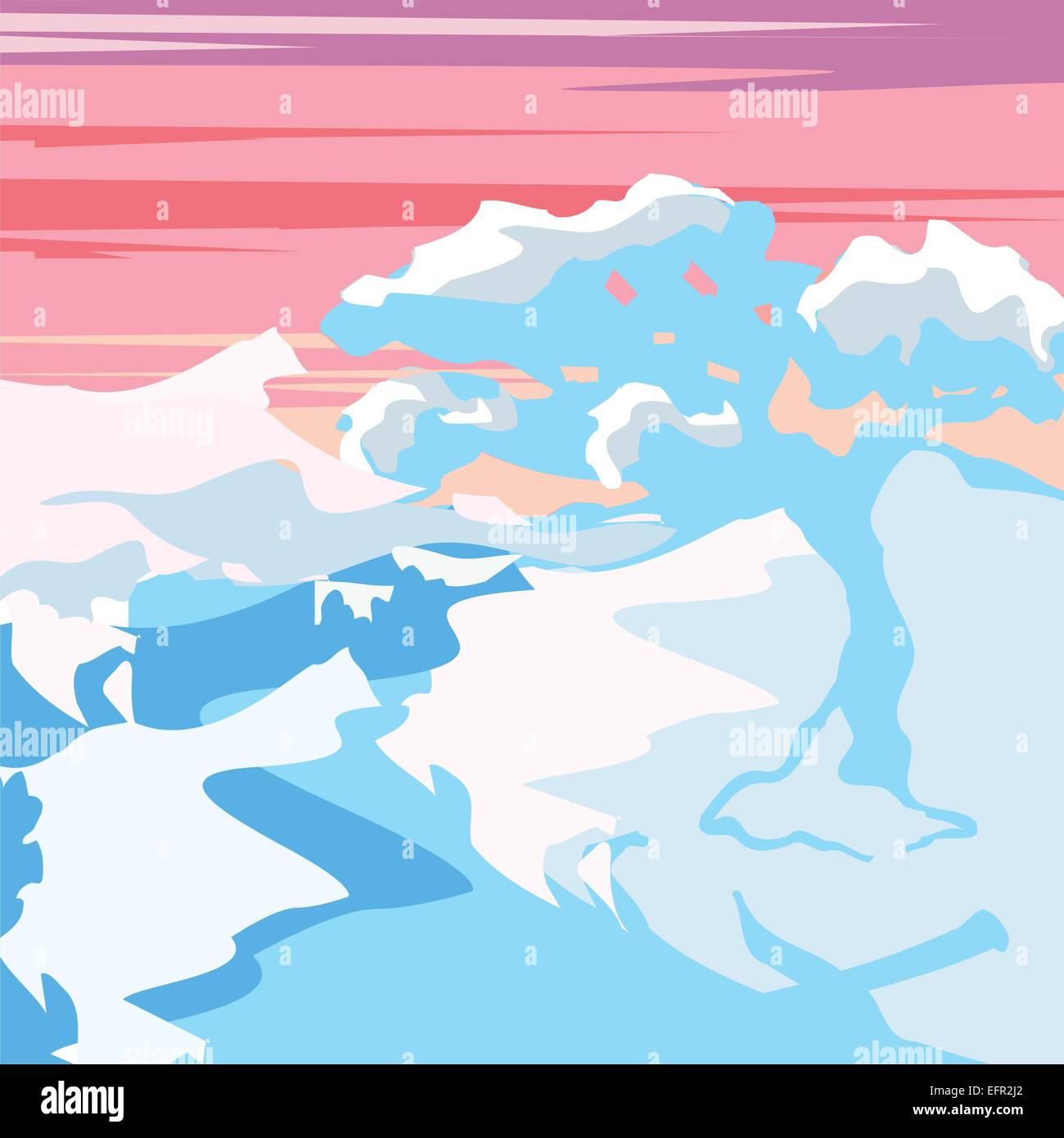 Beautiful artistic winter forest landscape vector illustration - Stock Vector