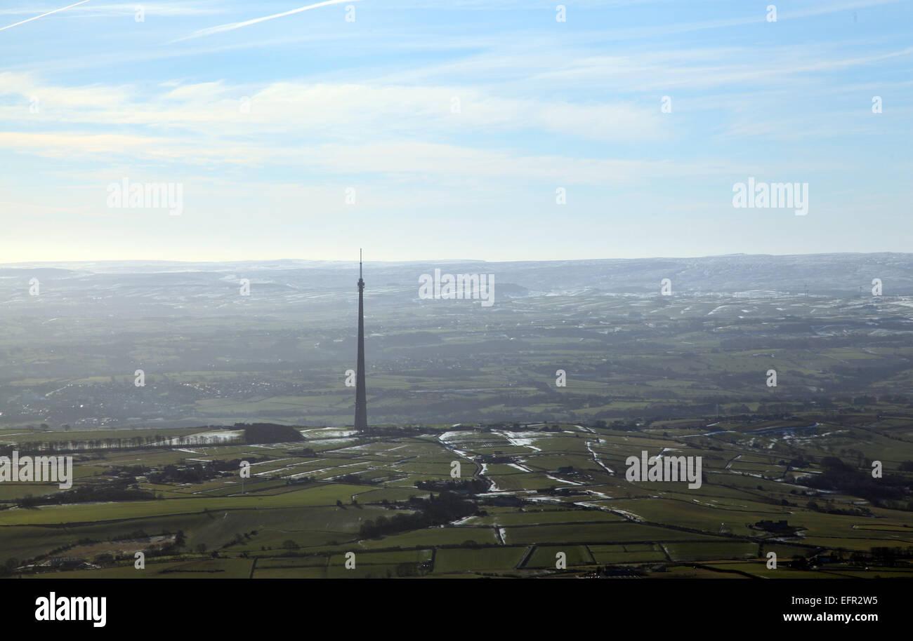 aerial view of Emley Moor TV mast transmitter, Yorkshire, UK - Stock Image