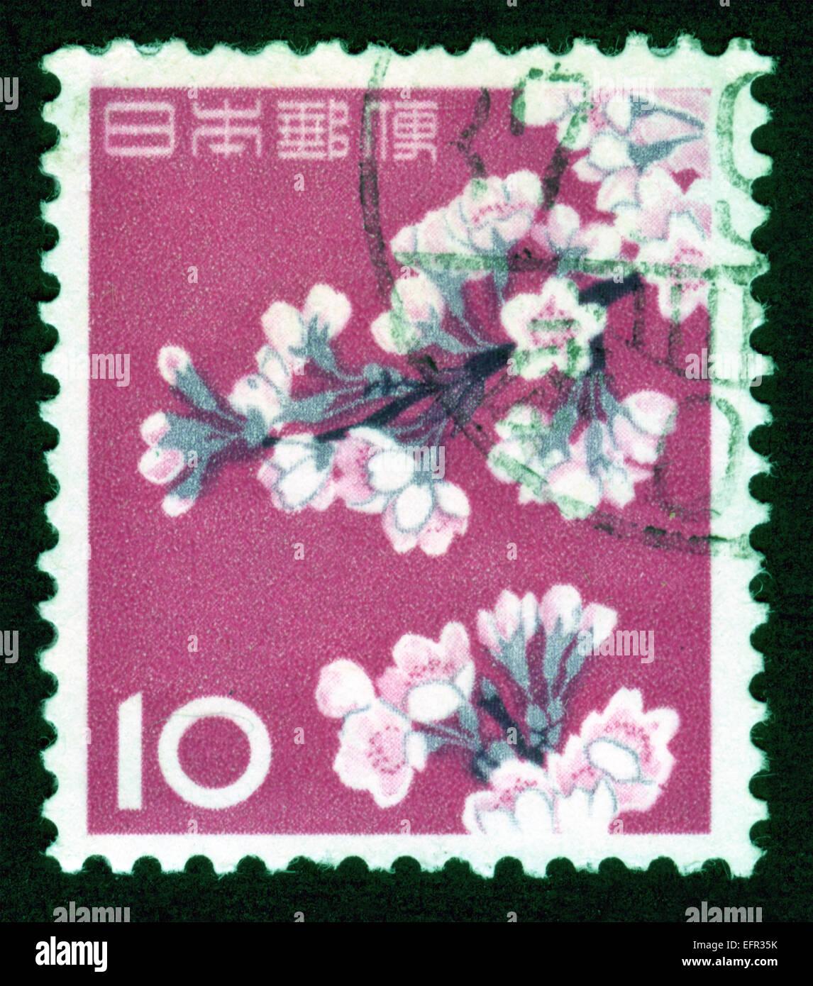 japan post mark postage stamp flowers plants flora flower stock