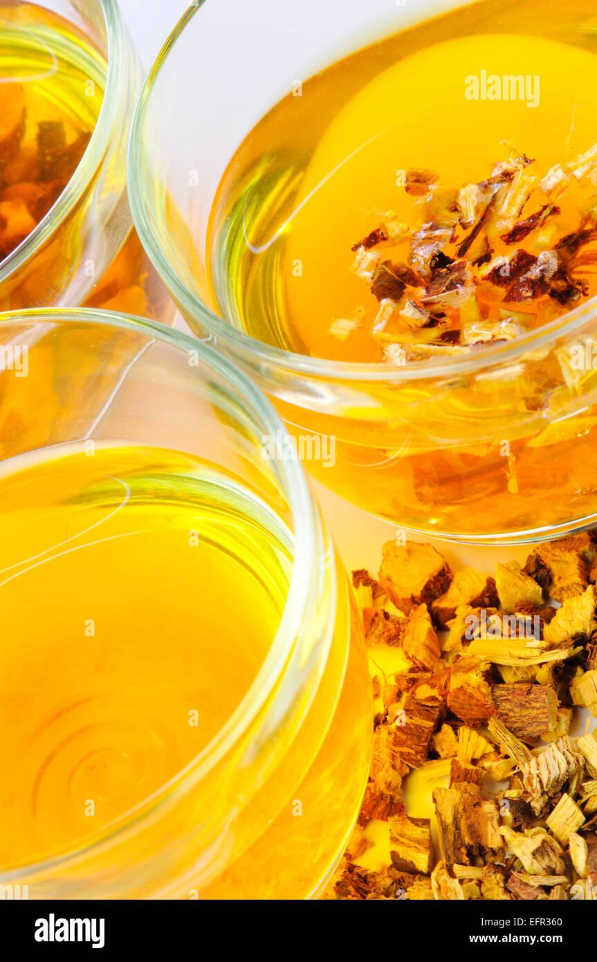 Medicinal Herb-tea of the Medicinal Plant Licorice, Glycyrrhiza Glabra Stock Photo