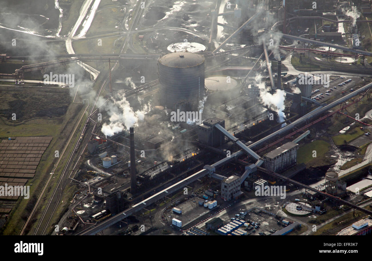 aerial view of the British Steel Tata Steel factory plant in Scunthorpe, UK - Stock Image