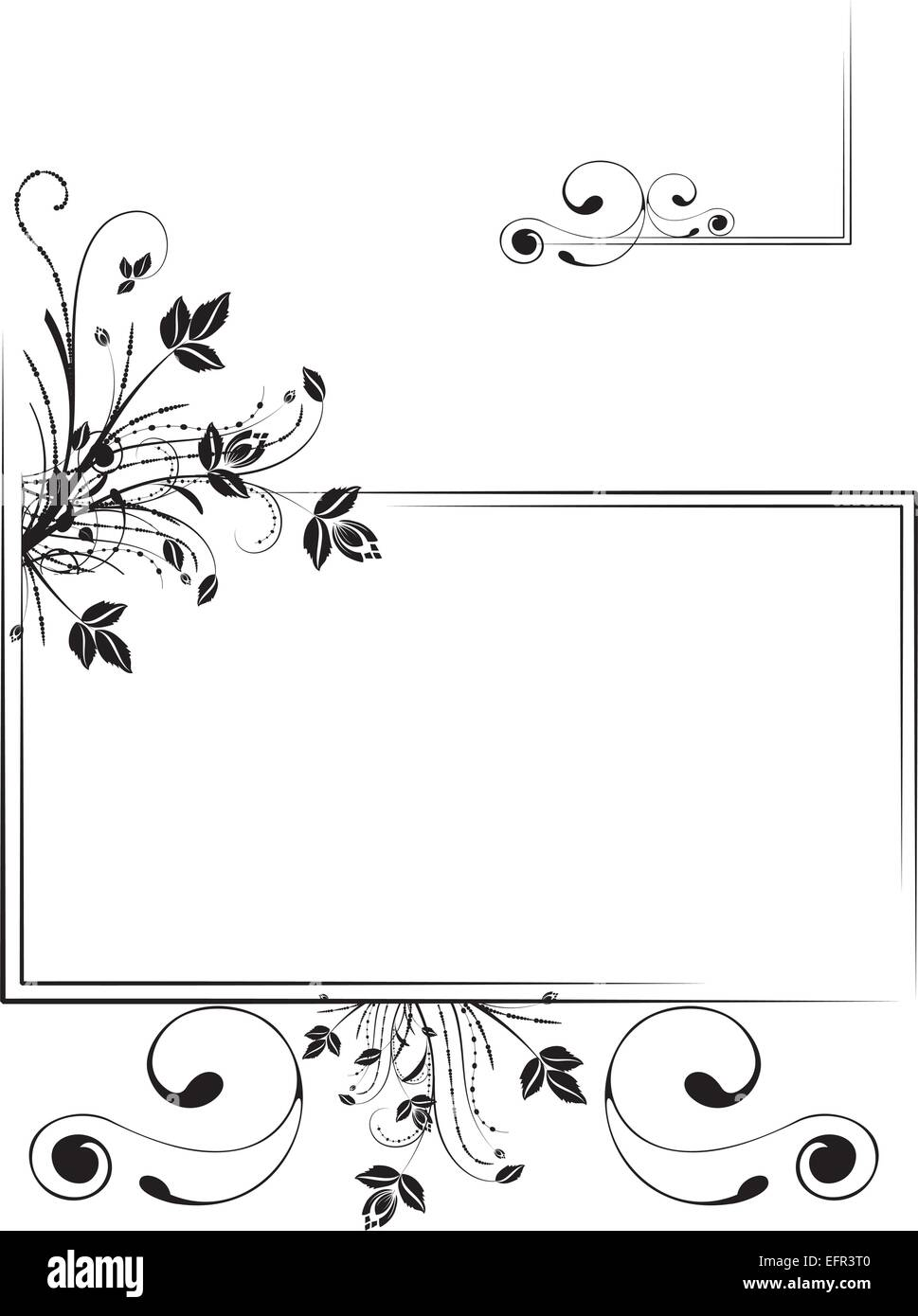 Monochrome floral scrap-booking frame, vector illustration - Stock Image