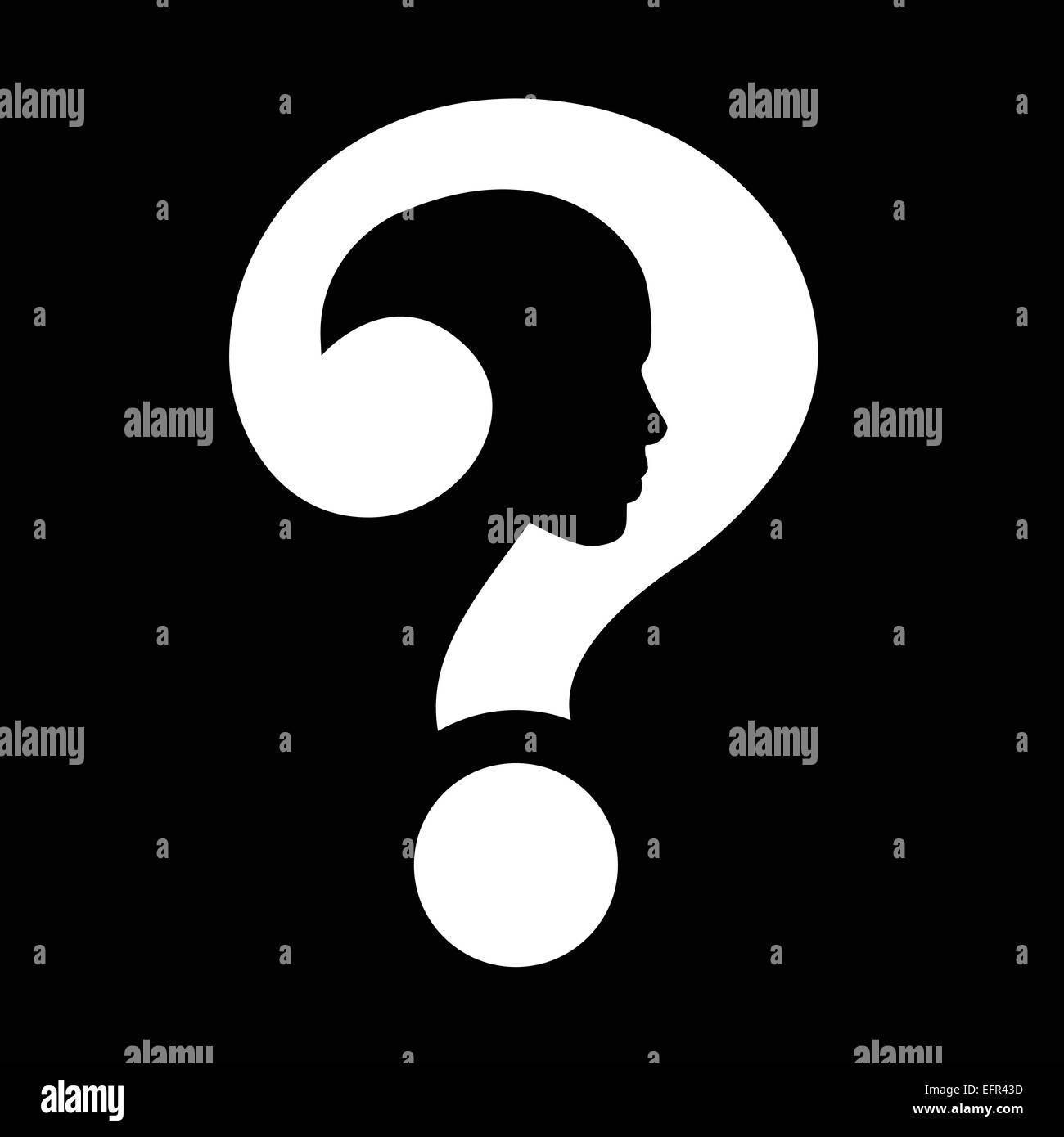 Question mark human head symbol - Stock Image