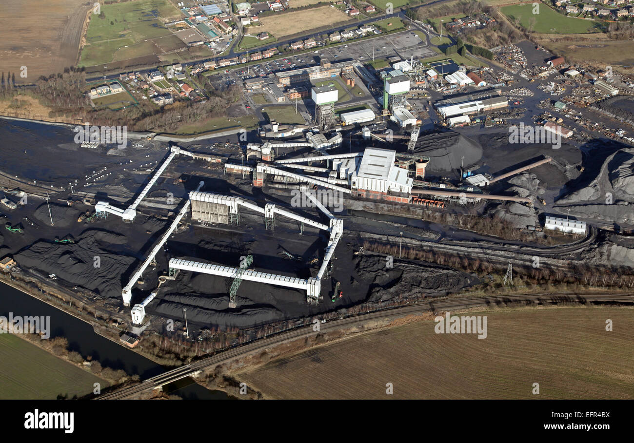 aerial view of Kellingley Colliery, deep coal mine, in West Yorkshire, UK Stock Photo