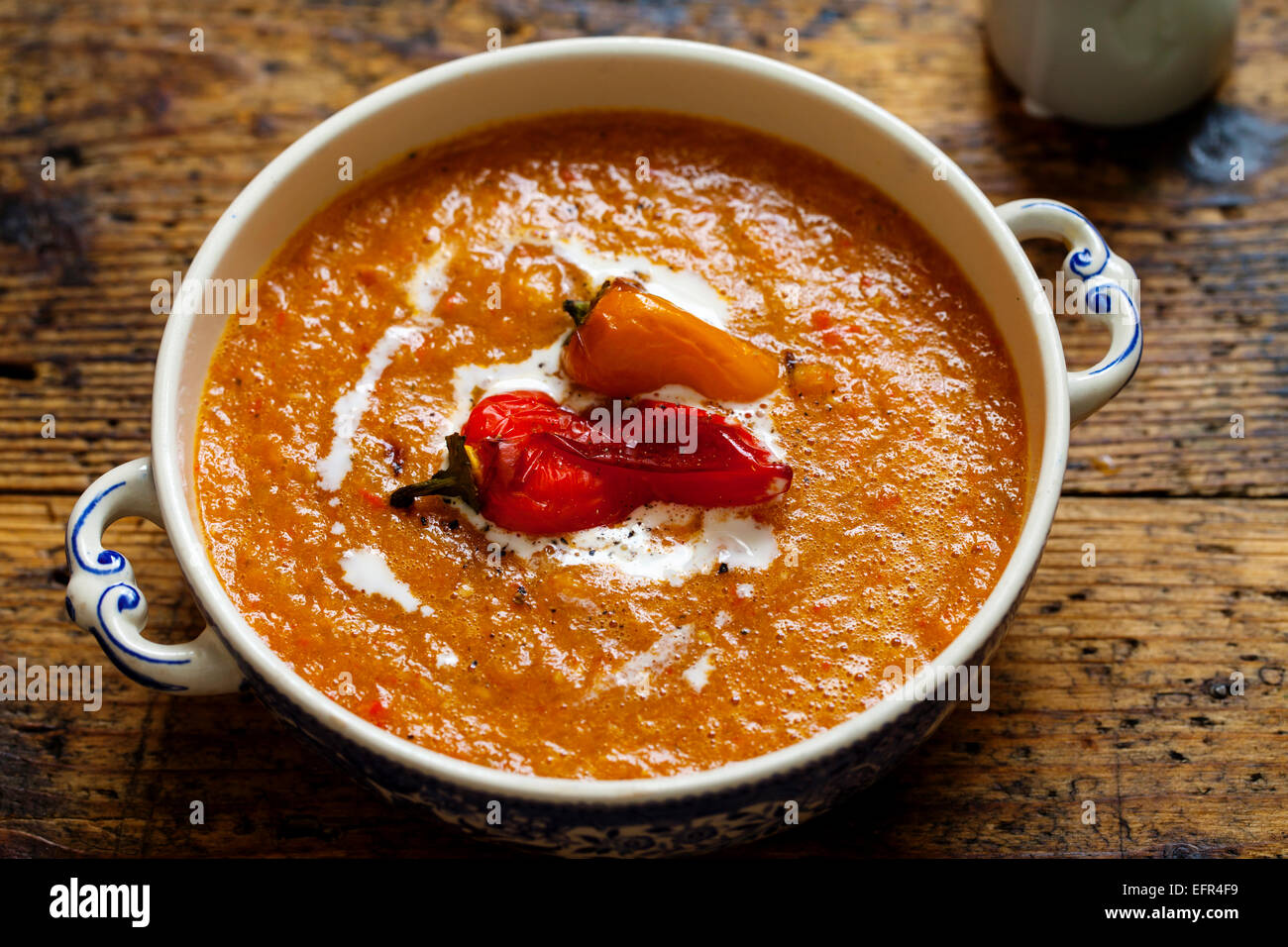 Roast pepper and tomato soup Stock Photo