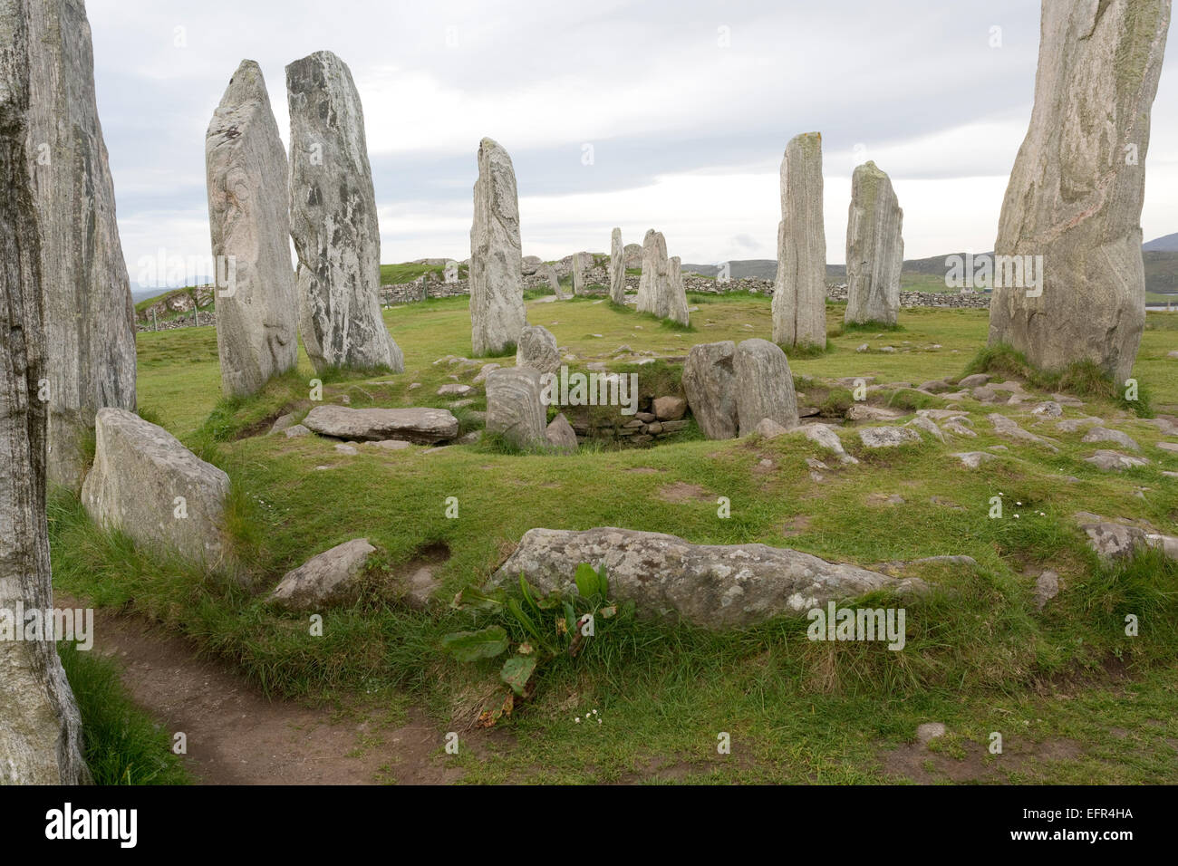 Callanish stone circle Isle of Lewis Outer Hebrides Scotland - Stock Image