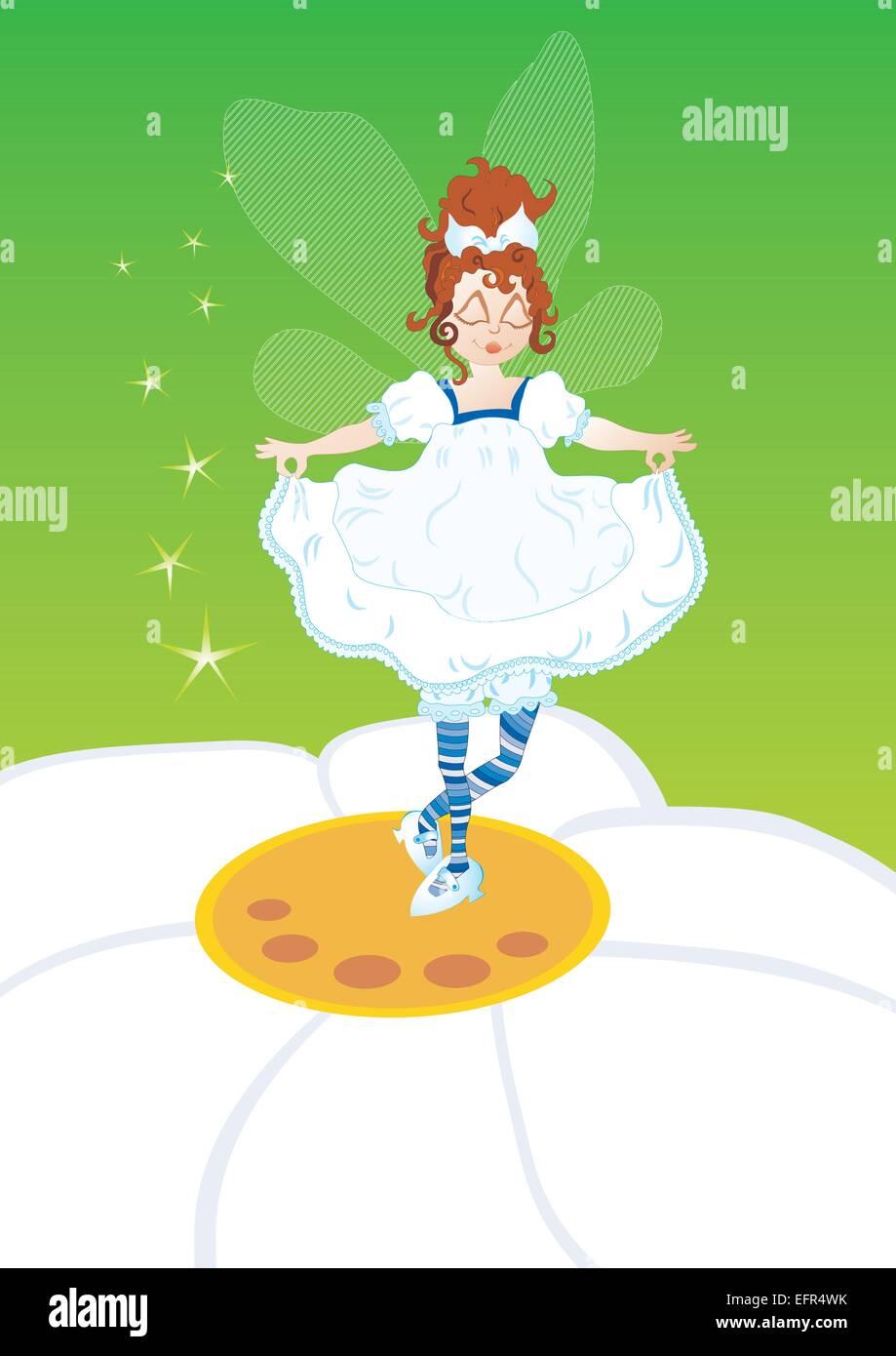 Little fairy on the flower, vector illustration - Stock Image
