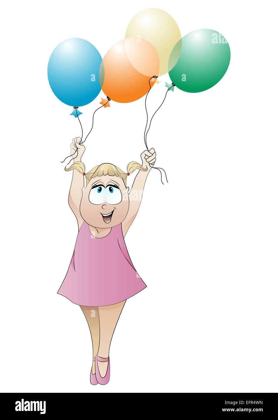 Открытка своими руками девочка держит шарики, открытки