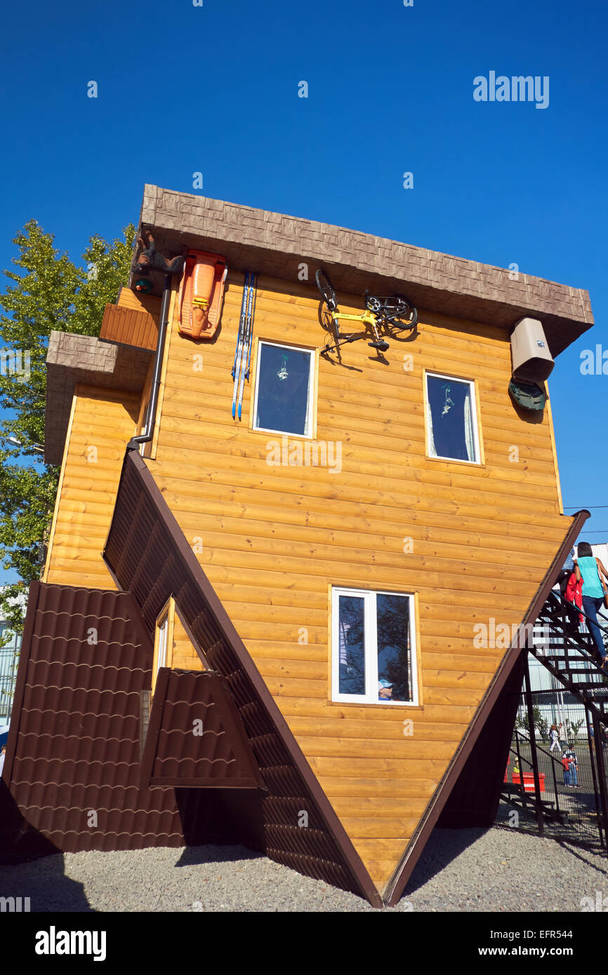 The Upside Down House at the All-Russia Exhibition Centre (VDNKh). Moscow, Russia. - Stock Image