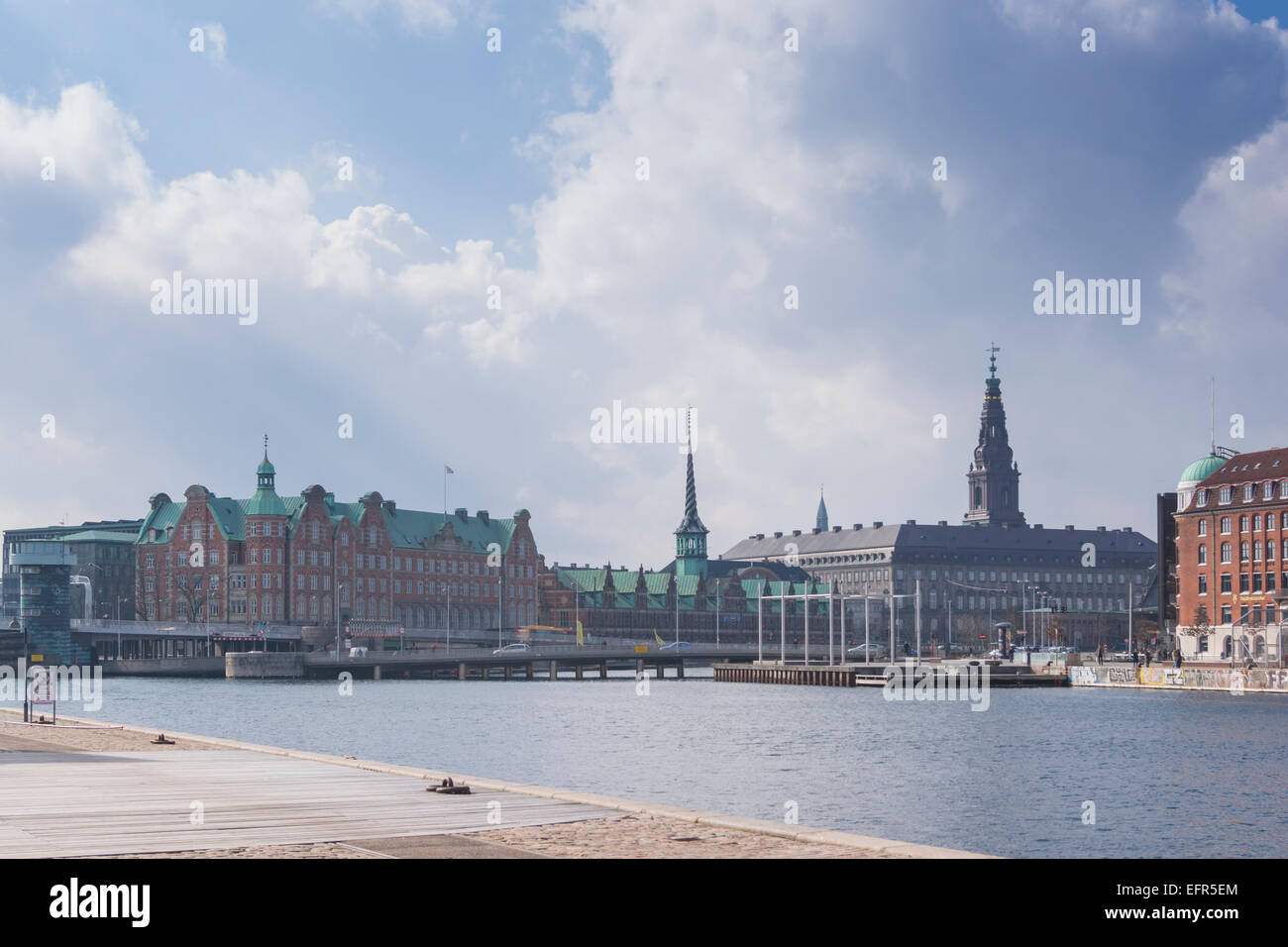 Copenhagen skyline viewed from Christianshavn. Denmark Stock Photo