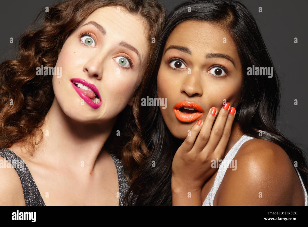 Female models making faces - Stock Image