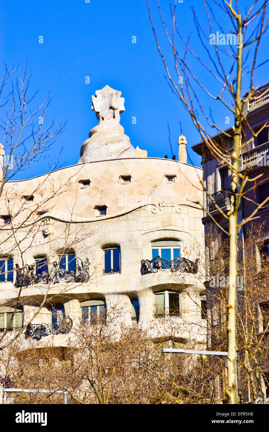 Casa Mila aka La Pedrera, designed by Antoni Gaudi architect. Barcelona, Catalonia, Spain. Stock Photo