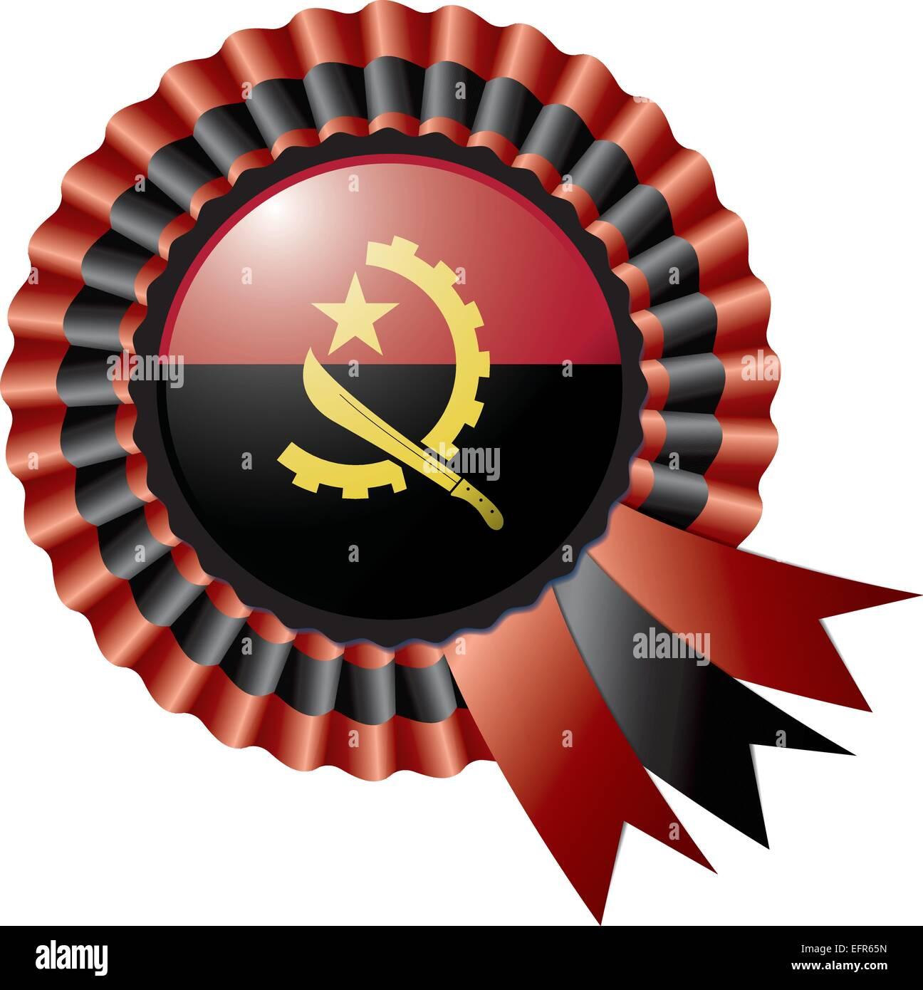 Angola detailed silk rosette flag, eps10 vector illustration - Stock Vector