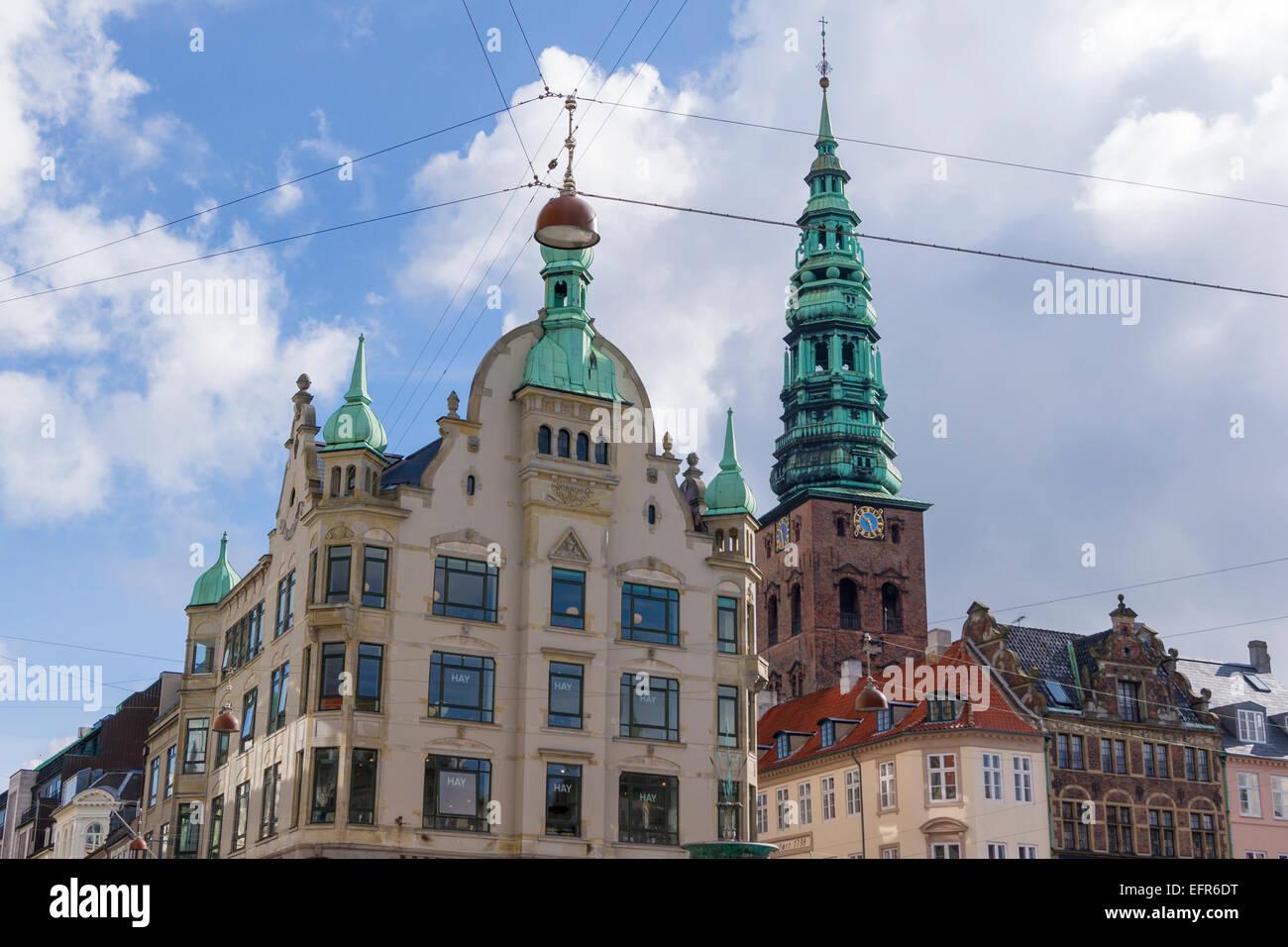 Copenhagen buidlings and the spire of Nikolaj former church, Denmark Stock Photo