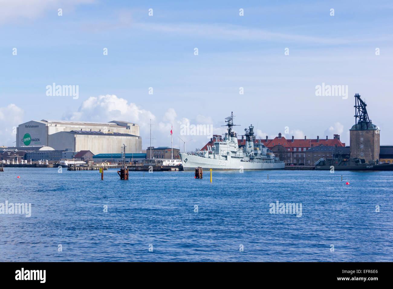 The Cold War frigate PEDER SKRAM at the former Holmen naval base. Copenhagen, Denmark - Stock Image