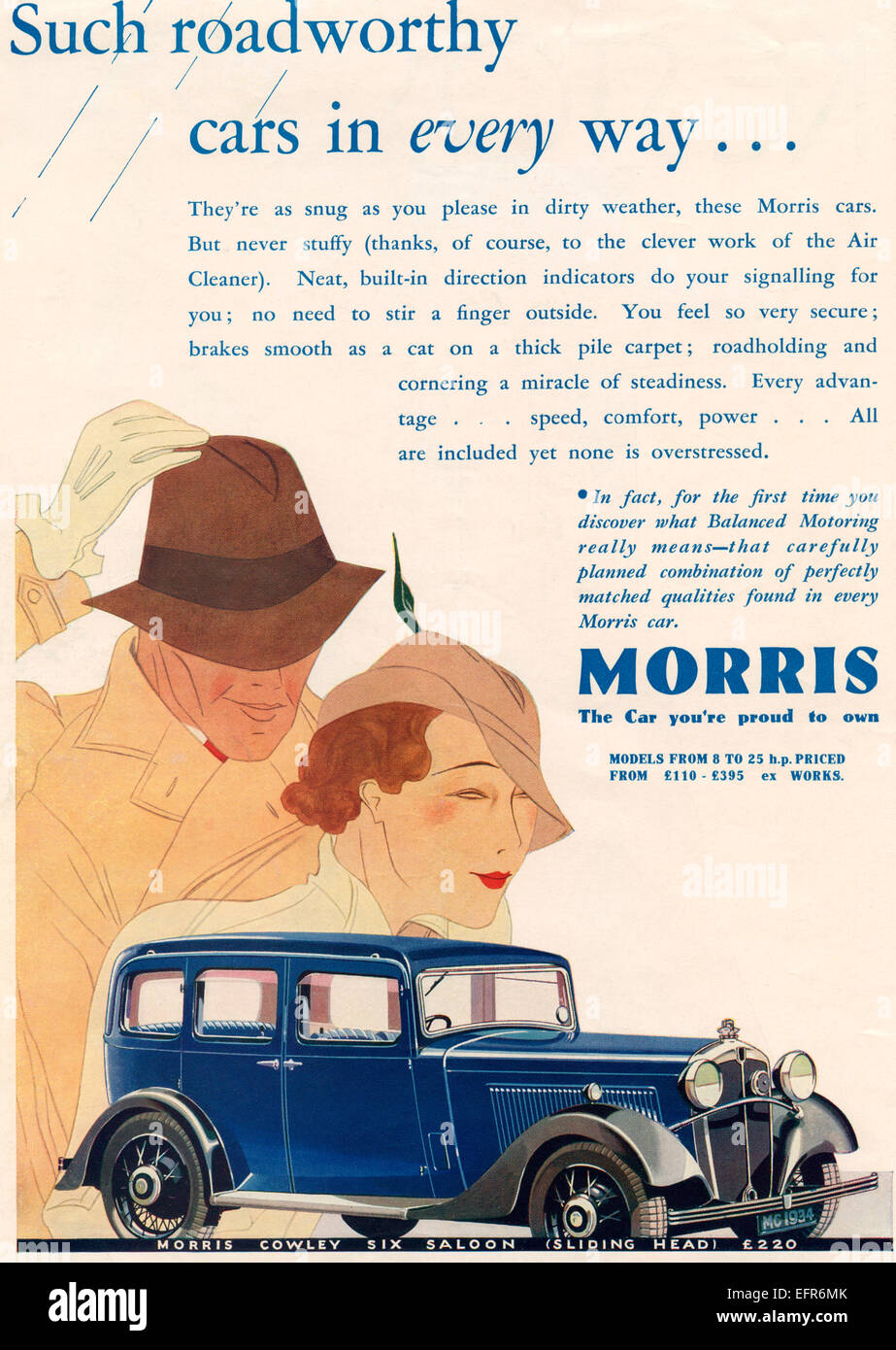 1934 advertisement for a Morris Cowley Six Saloon Sliding Head car. - Stock Image