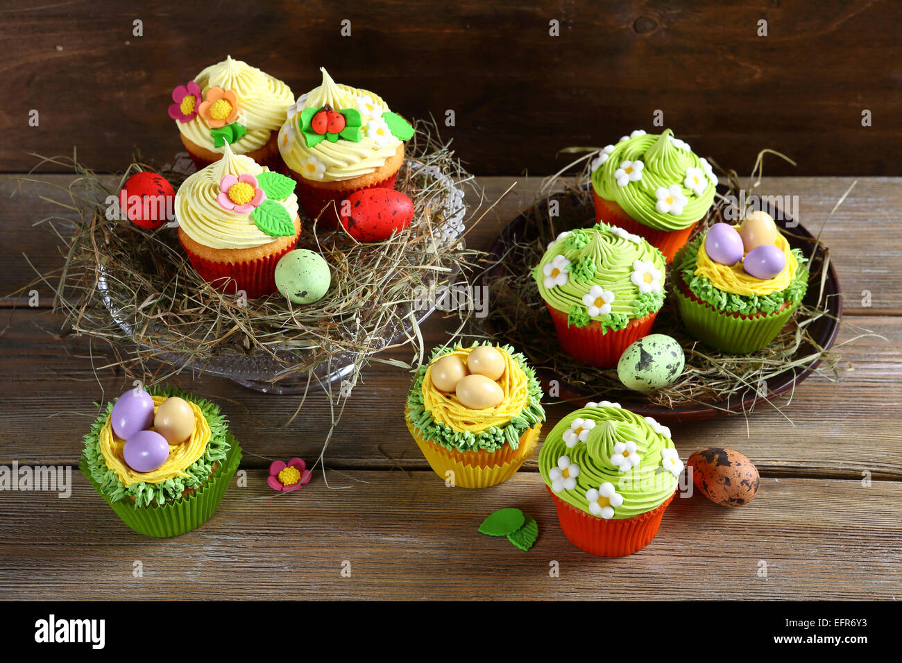 Set of Easter cupcakes, festive food - Stock Image