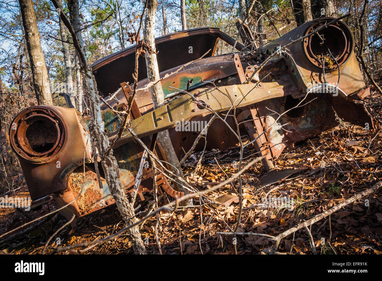 Abandoned icon of a former age succumbs to the elements of nature. - Stock Image