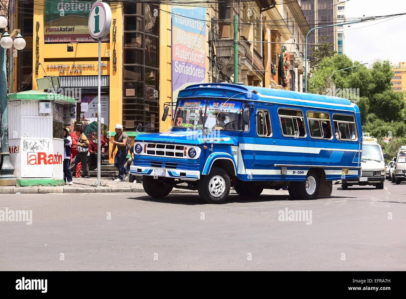 Old blue Dodge D400 bus on the Plaza del Estudiante (Student's Square) in the city center in La Paz, Bolivia Stock Photo
