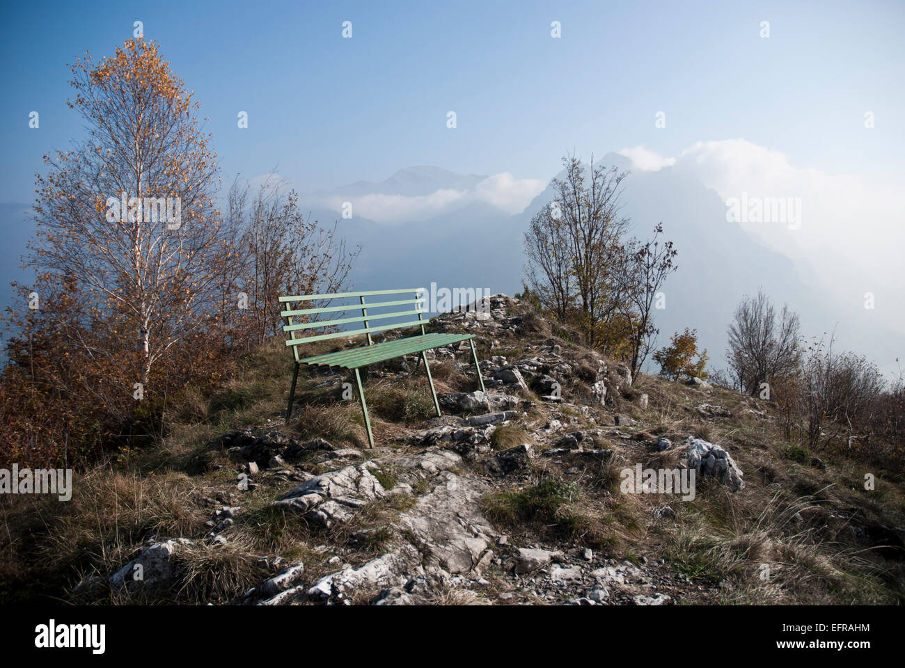 Mountain top outlook, Lake Iseo, Italy - Stock Image