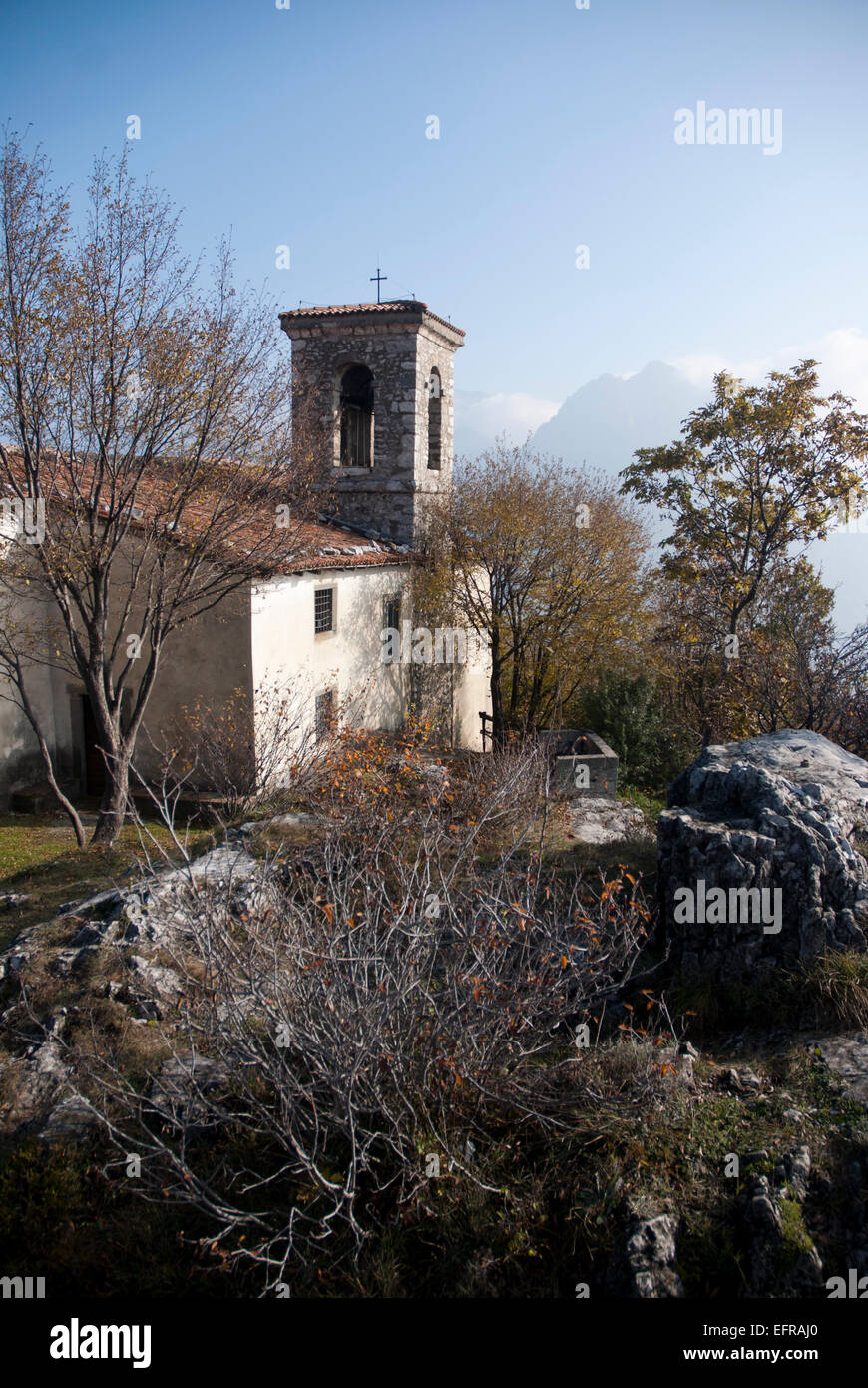 Chapel on the mountain at Lake Iseo, Italy - Stock Image