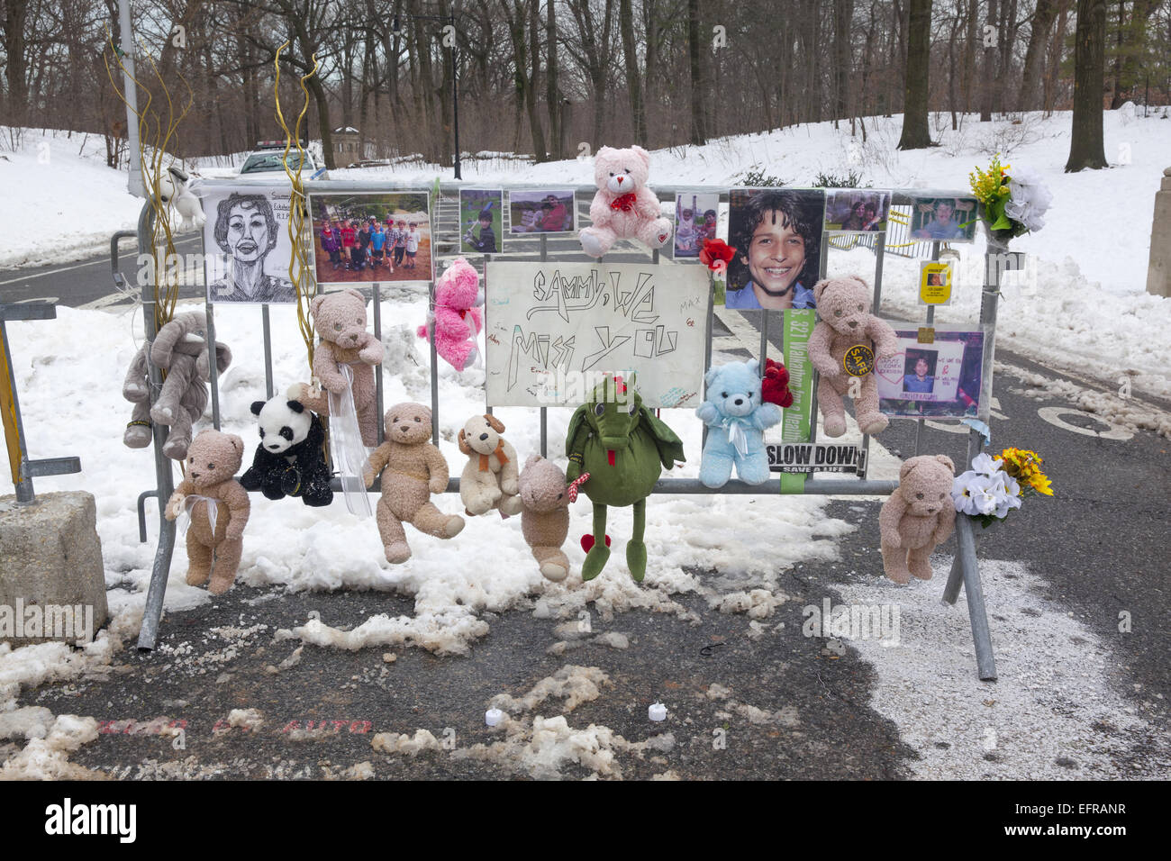 Memorial to Sammy Cohen Eckstein, 12, near the site of his death on Prospect Park West in Brooklyn where he was - Stock Image