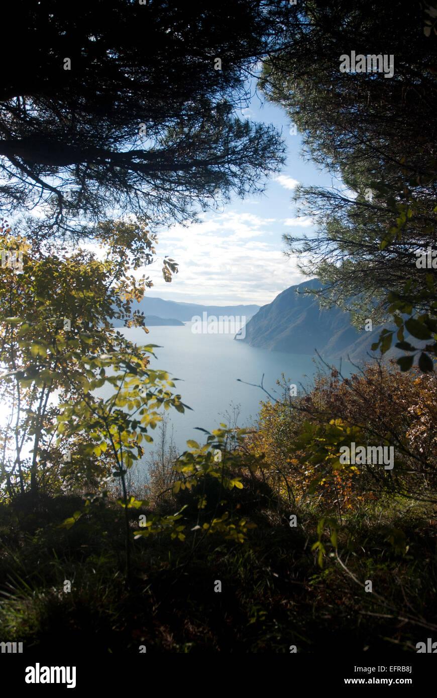 Mountain range at Lake Iseo Italy - Stock Image