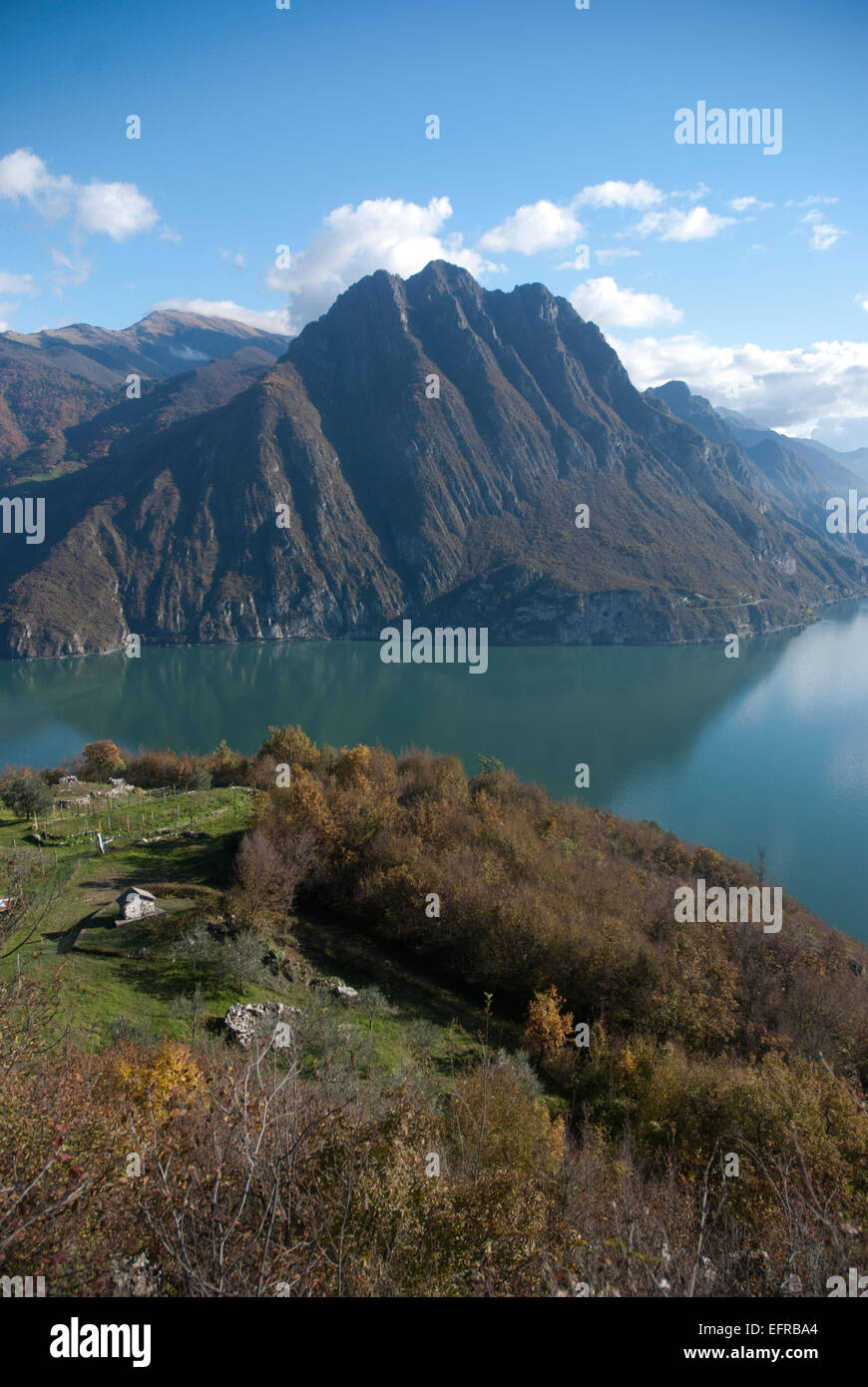 Mountain range at Lake Iseo - Stock Image