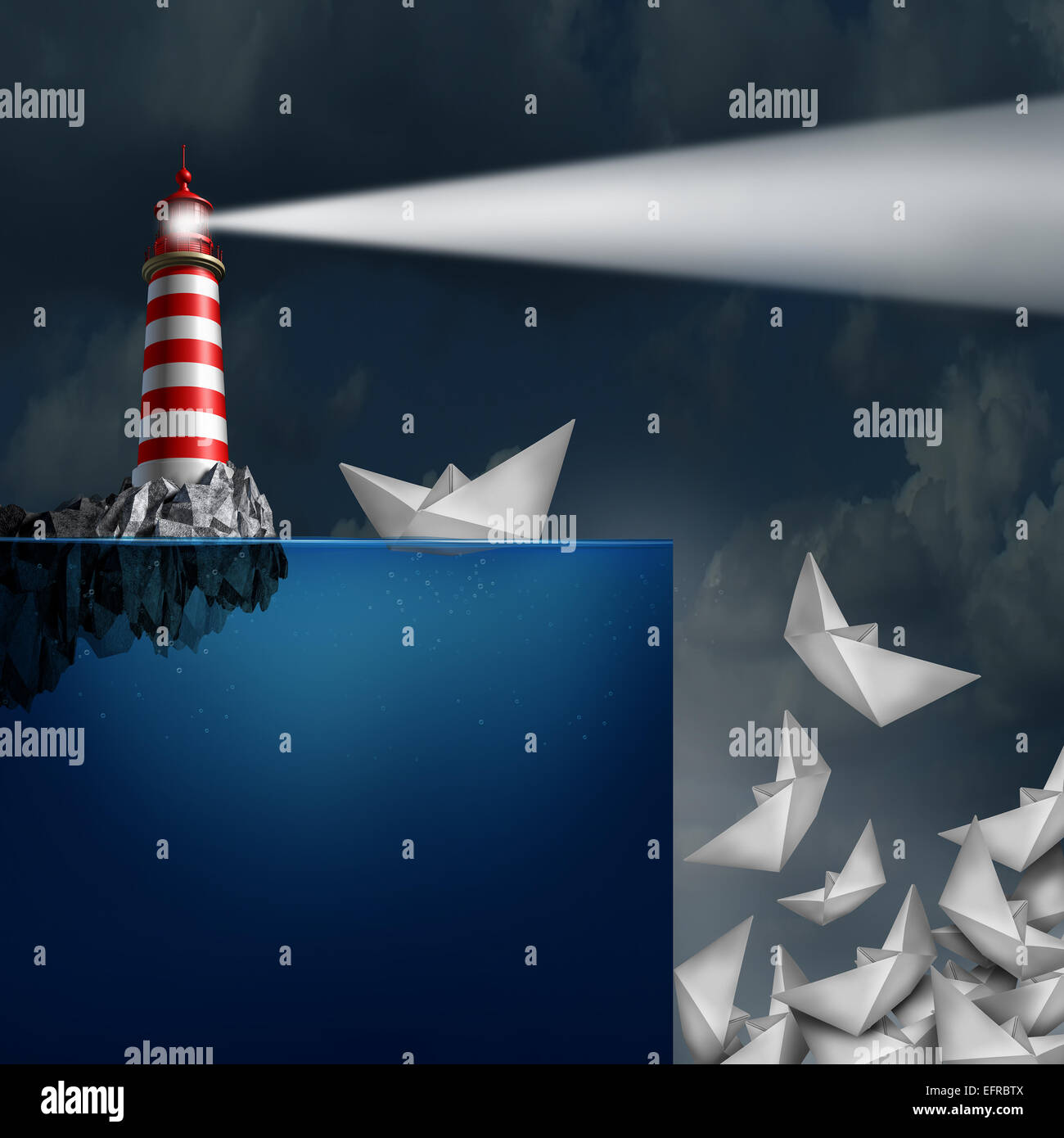 Bad advice concept as a lighthouse with a light beacon falsly guiding paper ships off a cliff as a metaphor for - Stock Image