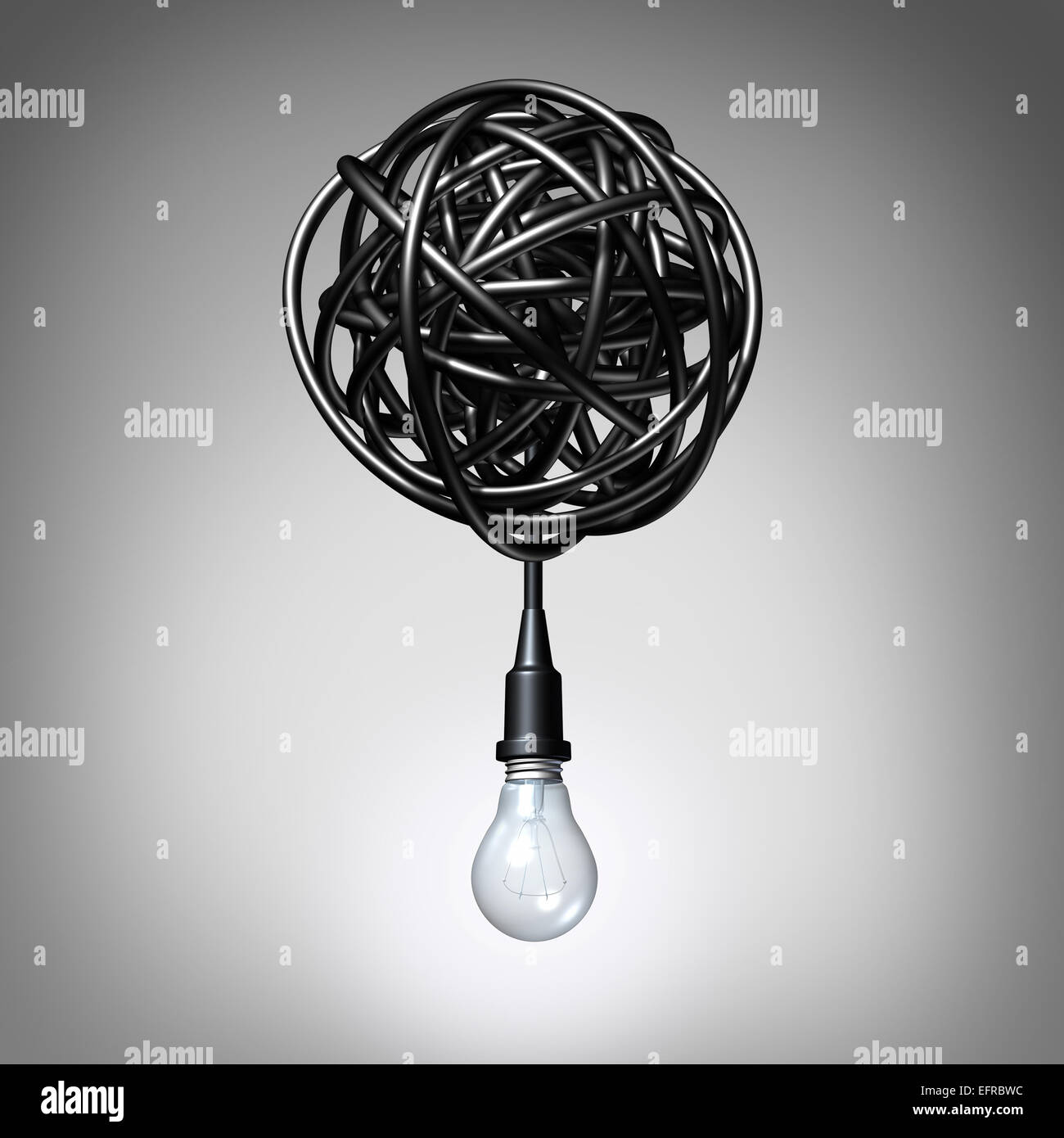 Creative advice concept as a lightbulb or light bulb hanging down from a tangled chaos of twisted electric cord - Stock Image