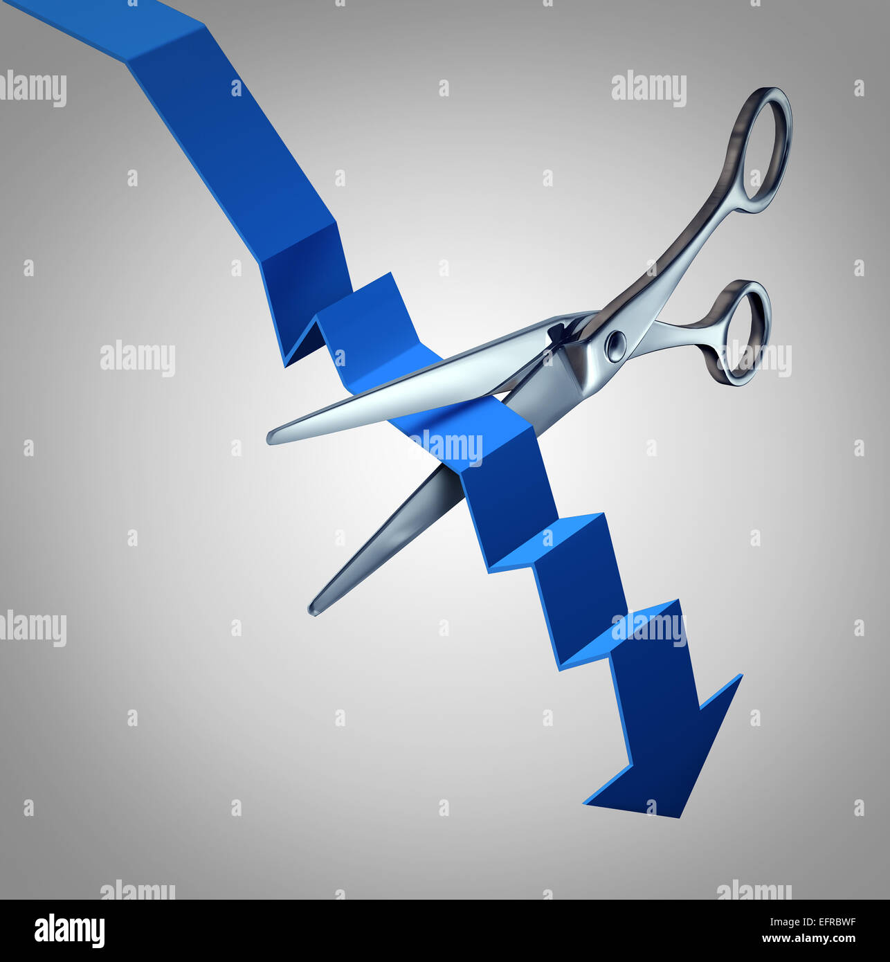 Cut losses financial concept to salvage an investment as scissors cutting a downward finance chart arrow as a business - Stock Image
