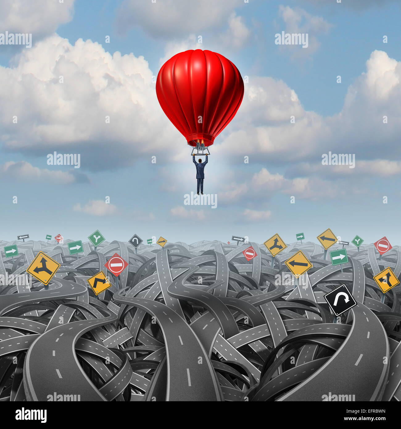 Easy way forward rise above confusion leadership concept with a businessman in a balloon flying and soaring over - Stock Image