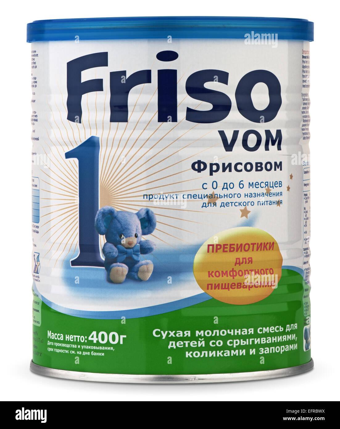 SOCHI, RUSSIA - FEBRUARY 09, 2015: Milk formula Friso VOM 1 with prebiotics based on cow's milk. Manufactured - Stock Image