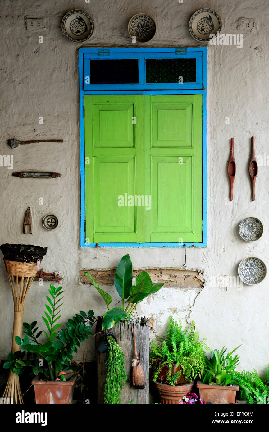 Green window, Chiang Mai, Thailand - Stock Image