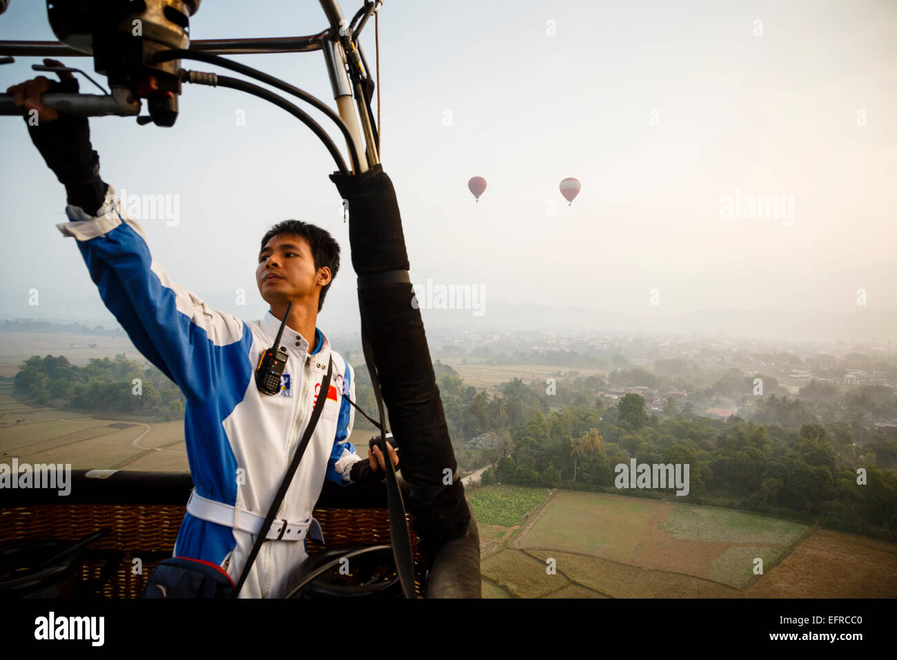 Hot air balloon pilot, Vang Vieng, Laos. - Stock Image