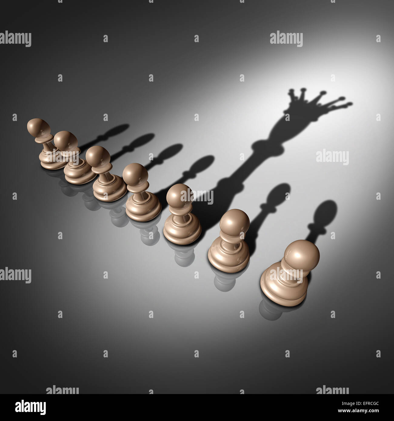 Leadership search and business recruitment concept as a group of pawn chess pieces and one individual standing out - Stock Image