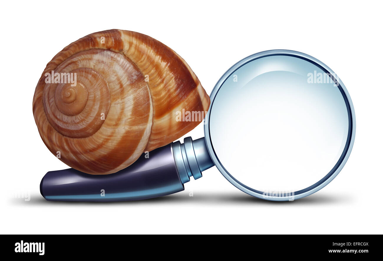Slow search concept and problems with an internet connection for searching information with a magnifying glass metaphor Stock Photo