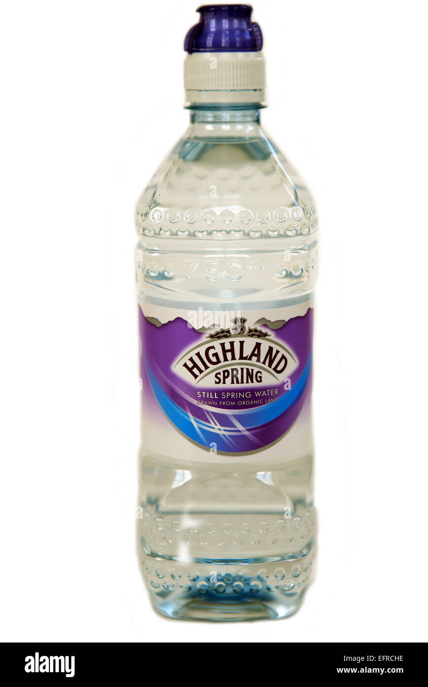 Plastic bottle of Highland Spring water from Scotland on a white background - Stock Image