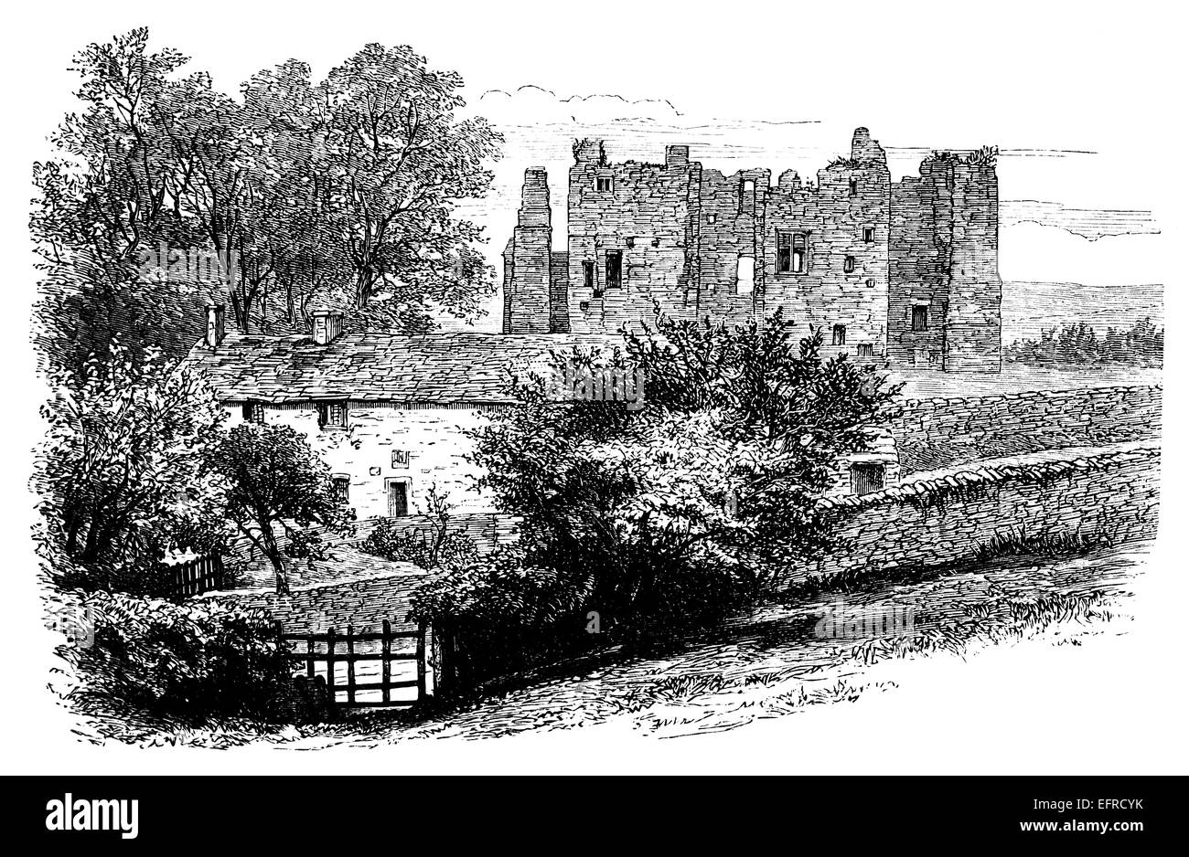 Bolton Abbey , UK, photographed from 'English Pictures Drawn with Pen and Pencil' published in London ca. - Stock Image