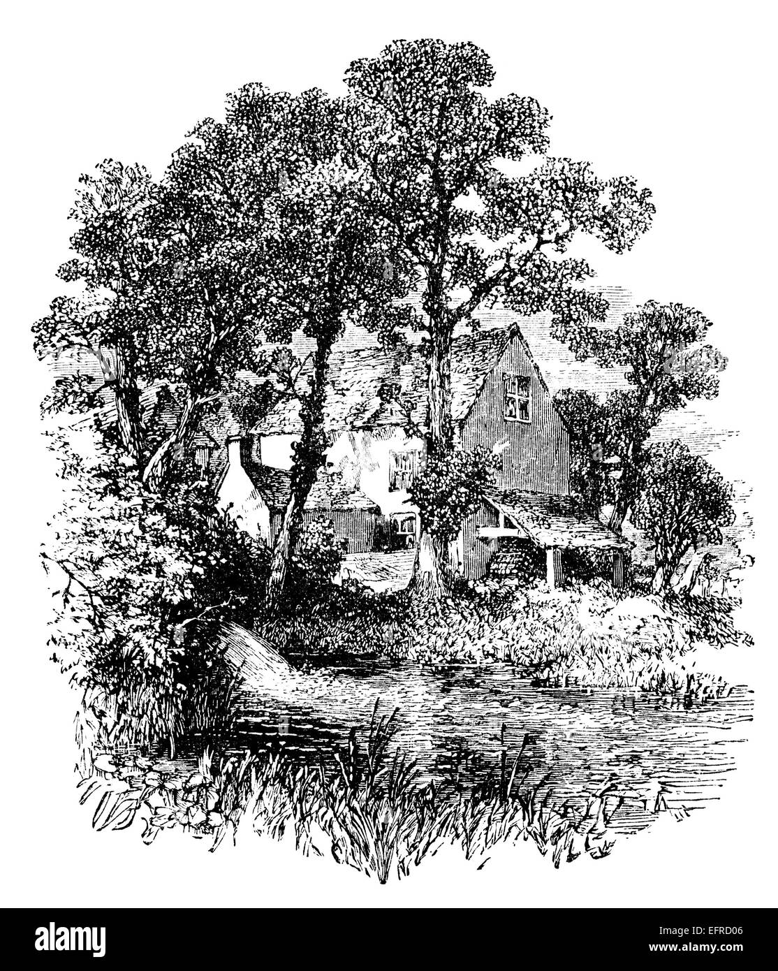 English country cottage, photographed from 'English Pictures Drawn with Pen and Pencil' published in London - Stock Image