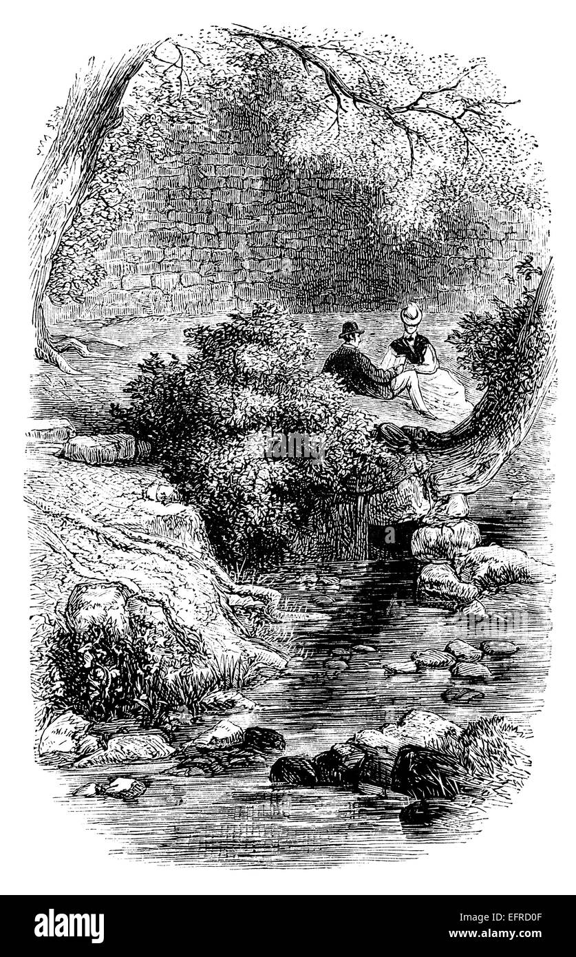 Romantic scene photographed from english pictures drawn with pen and pencil published in
