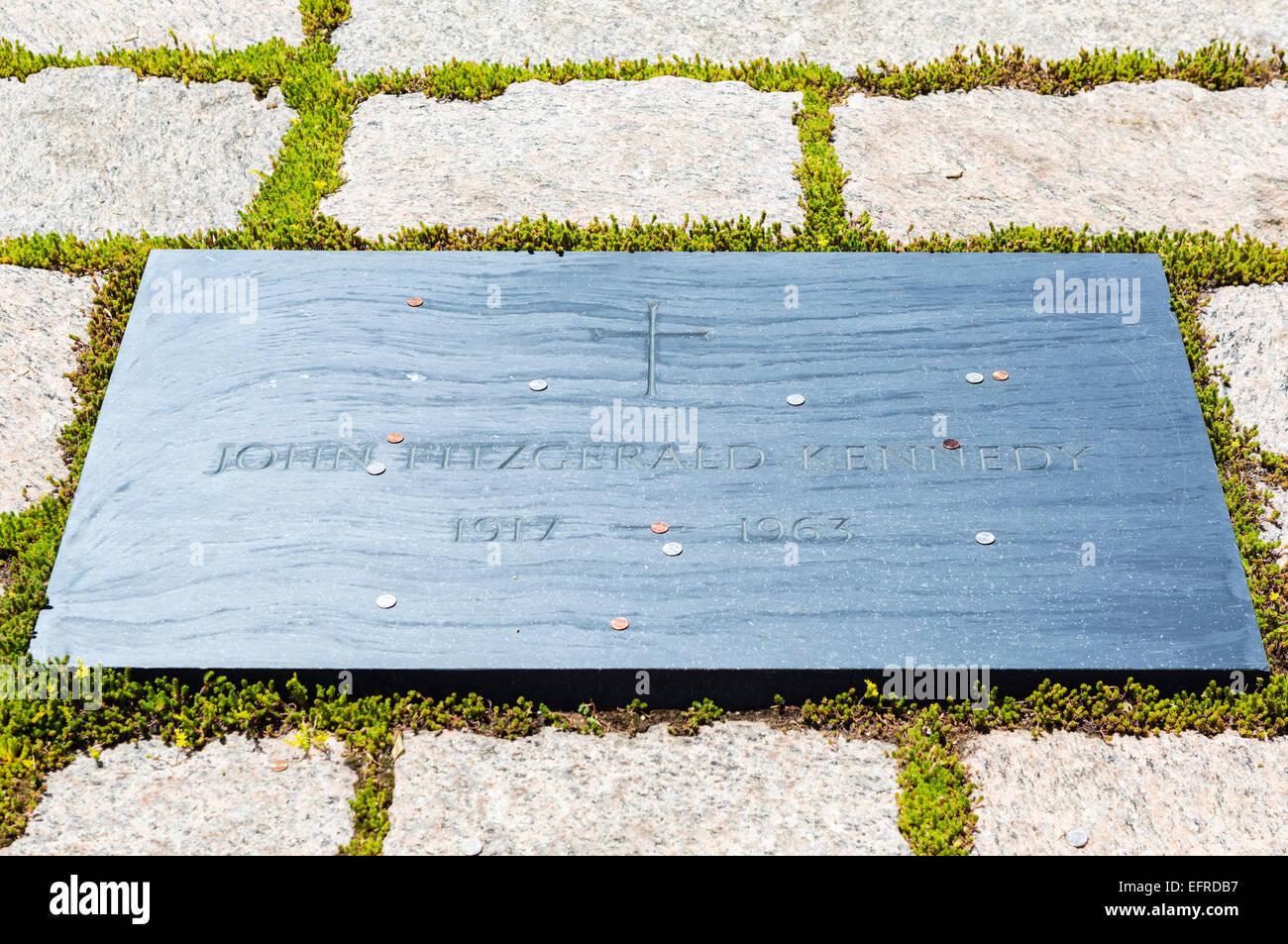 President John F Kennedy grave, Arlington National Cemetery, Arlington, Virginia, USA - Stock Image