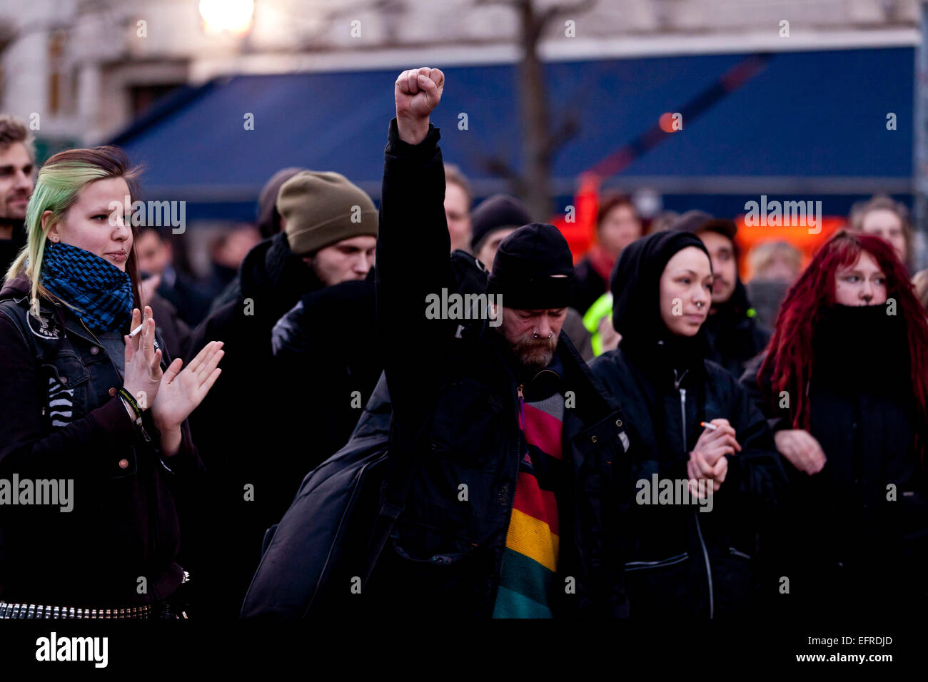 Copenhagen, Denmark. 9th February, 2015. Protestors against the PEGIDA movement I Copenhagen gathered at today's - Stock Image