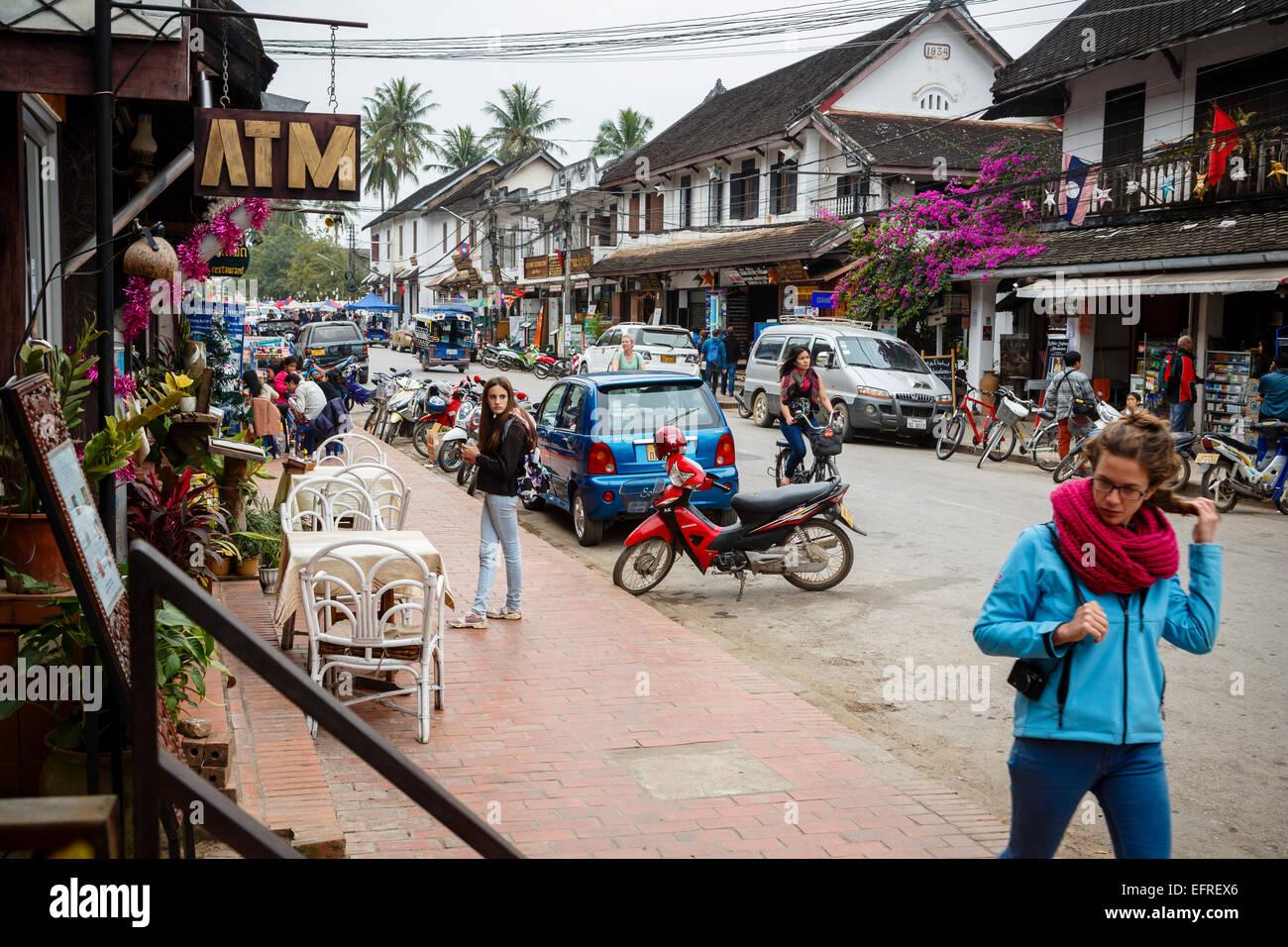 Shops And Restaurants On The Main Street Sisavangvong Road Luang